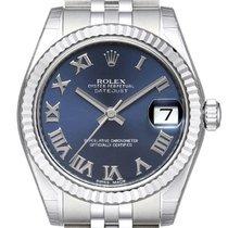 Rolex Lady-Datejust Aço 31mm Azul Romanos
