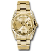 Rolex Day-Date 36 Κίτρινο χρυσό 36mm Σαμπανιζέ χρώμα Ρωμαϊκοί