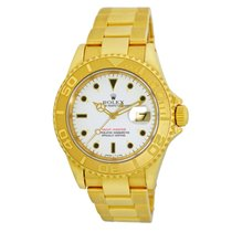 Rolex 18K Yellow Gold 40mm Yachtmaster White Dial Wooden Box...