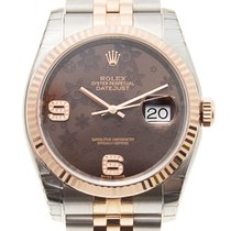 勞力士 Datejust 18k Rose Gold And Steel Brown Automatic 116231BRF...