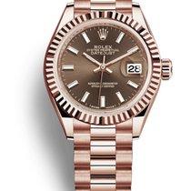 Rolex Or rose Remontage automatique Brun Sans chiffres 28mm nouveau Lady-Datejust