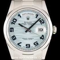 Rolex Platinum Ice Blue Wave Arabic Dial Day-Date Gents B&P...