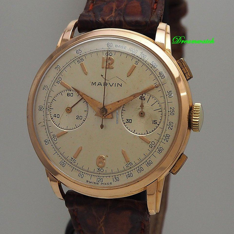 Marvin Vintage Chronograph 18k 750 Rosegold Valjoux 22