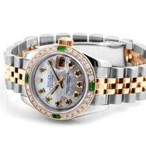 Rolex 26m TT  Datejust Custom MOP Emerald Dial - Custom Diam...