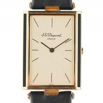 S.T. Dupont Armbanduhr Gelbgold Chinalack Quarz Armband Leder...