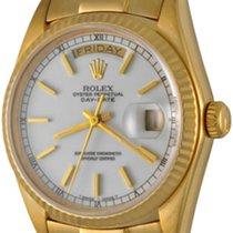 Rolex Day-Date 36 Or jaune 35mm Blanc Sans chiffres