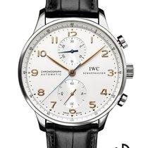 IWC Portugieser Chronograph Stahl 40.9mm Weiß Arabisch