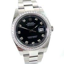 Rolex Datejust 41 mit Brillantlünette + schwarzem Dia Blatt