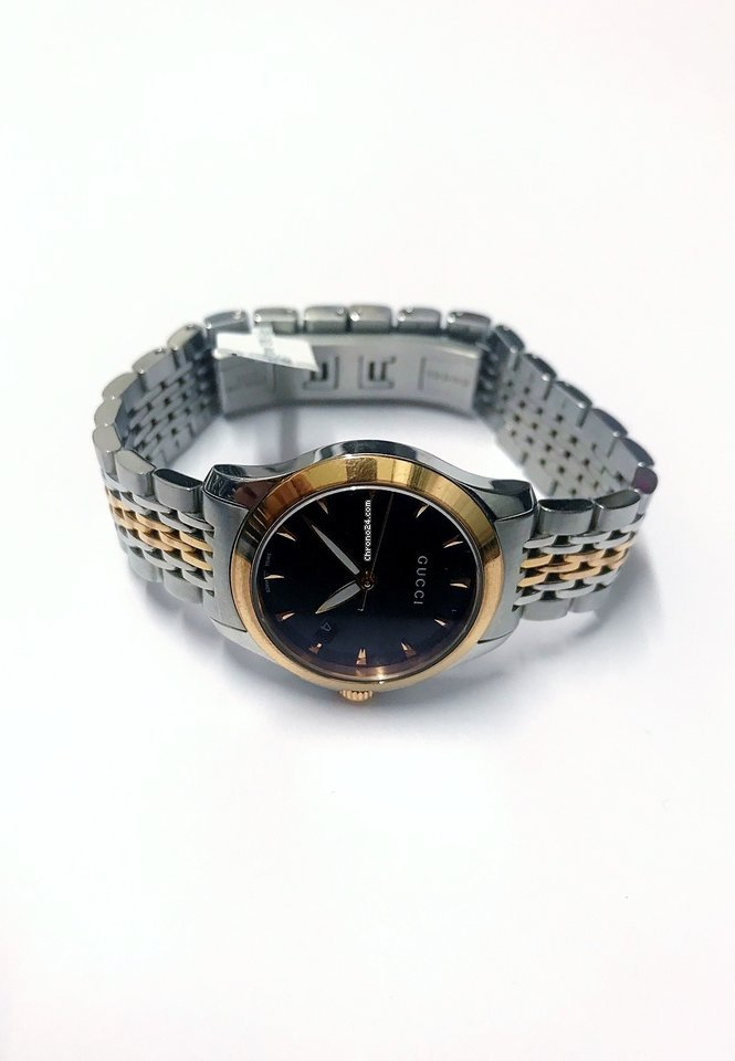 084abdea474 Gucci G-Timeless Black Dial Bi-Colour Bracelet Watch for  470 for sale from  a Seller on Chrono24