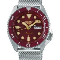 Seiko 5 Sports Steel 43mm Red No numerals