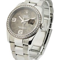 Rolex Used 116244 Datejust 36mm with Dark Grey Floral Dial -...