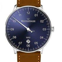 Meistersinger Neo Plus NE408 MeisterSinger NEO PLUS Blu cinturino CUOIO Cognac nouveau