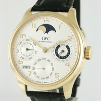 IWC Yellow gold Automatic Silver 44mm pre-owned Portuguese Perpetual Calendar