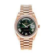 Rolex Day-Date 40 gebraucht 40mm Grün Datum Wochentagsanzeige Roségold