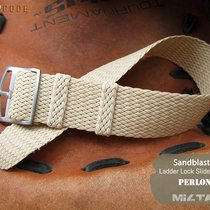 MiLTAT Perlon Watch Strap, 22mm Beige, E Ladder Buckle
