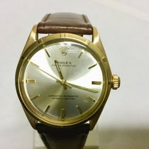 Rolex Oyster Perpetual 34 Κίτρινο χρυσό 34mm Ασημί Xωρίς ψηφία