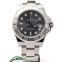 Rolex YachtMaster 40 steel and platinum Rhodium dial blue hands