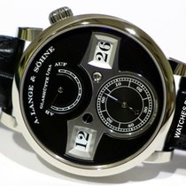 A. Lange & Söhne White gold Manual winding Black 41.9mm new Zeitwerk
