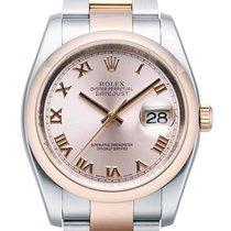 Rolex Datejust 36 mm Edelstahl Roségold 116201 Pink Römisch