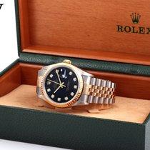 Rolex 1995 36mm 18K/SS Datejust Factory Black Diamond Dial w/ Box