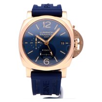 Panerai Luminor 1950 8 Days GMT Rotgold 44mm Blau Arabisch