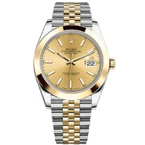 Rolex Datejust II Steel and Yellow Gold Champagne Diamond Dial...