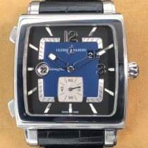 Ulysse Nardin Quadrato Dual Time pre-owned 42mm Blue Date GMT Leather