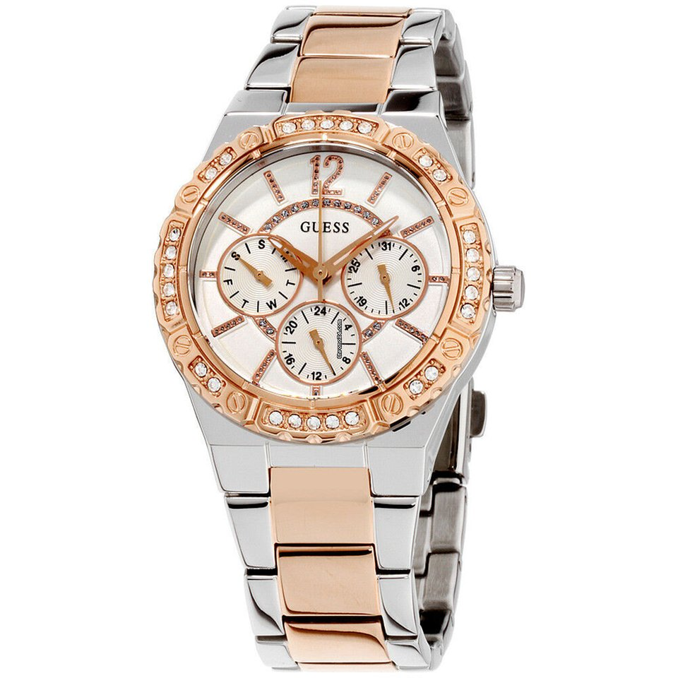 Ladies White Dial Guess Steel Watch W0845l6 Envy Stainless nOPk0w