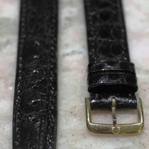 Omega leather strap black  mm 18/16 with buckle gold plated nos