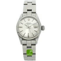 Rolex Oyster Perpetual Lady Date Steel 25mm Silver No numerals