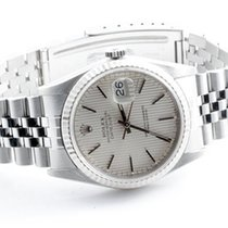 Rolex Mens 16234 Datejust - Silver Tapestry Stick Dial