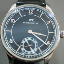 IWC Portuguese Hand-Wound Acero 44mm Negro Árabes