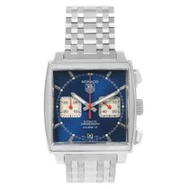 TAG Heuer Steel Automatic Blue 39mm pre-owned Monaco Calibre 12