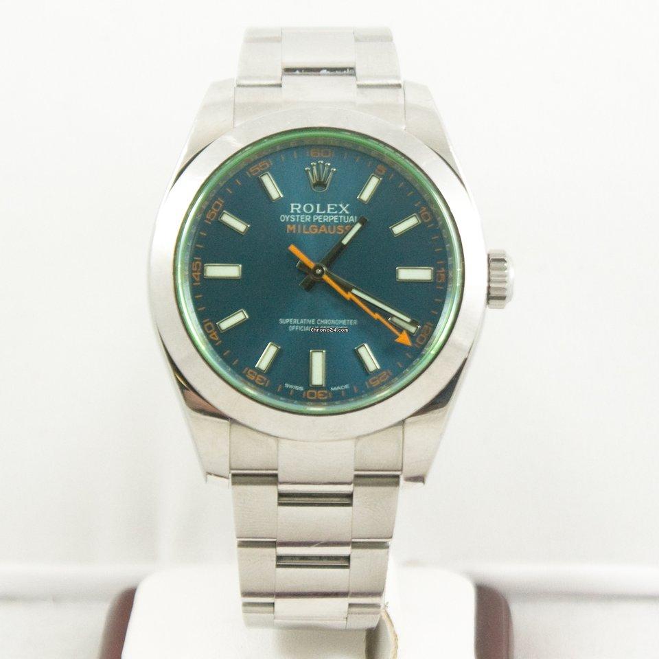 Rolex Milgauss Watch 116400GV Green Crystal Blue Face