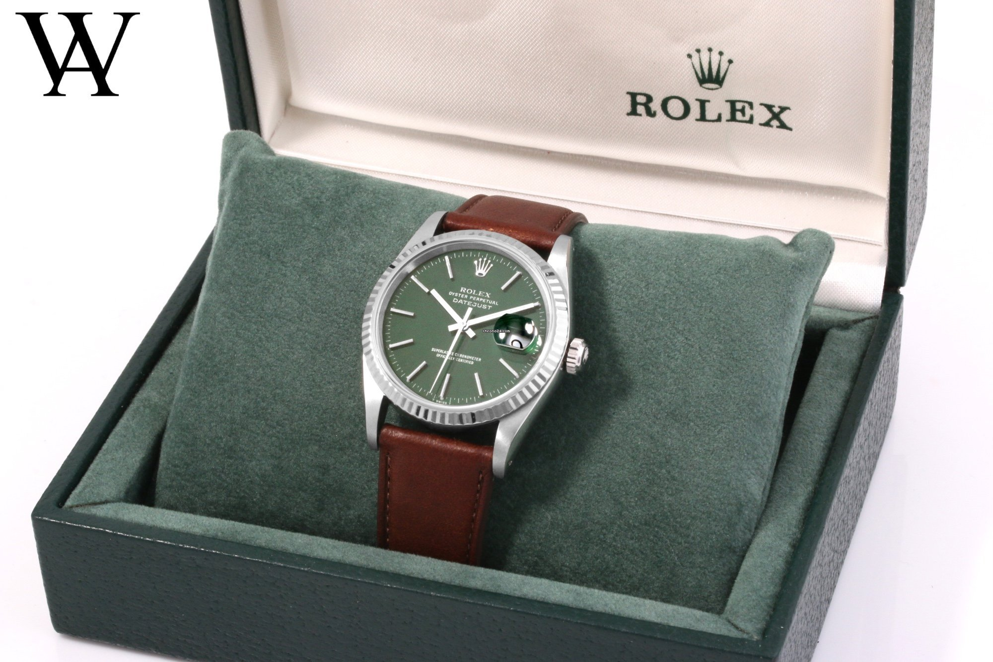 Rolex 36mm SS DATEJUST Custom Forest Green Dial w/ Rolex Box