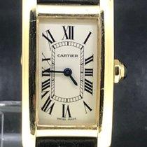 Cartier Tank Américaine Gult guld 19mm Hvid Romertal