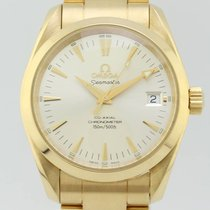Omega Yellow gold Automatic Grey No numerals 36mm pre-owned Seamaster Aqua Terra