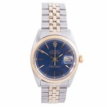 Rolex Men's Datejust Yellow Gold/SS Blue Index Fluted