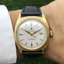 Rolex Bubble Back Gelbgold 35mm Weiß