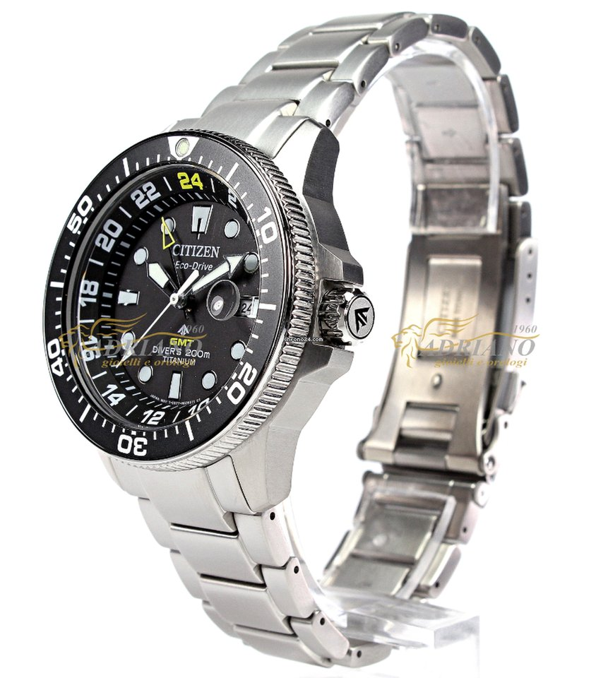 Citizen BJ7110 89E Promaster Diver's Eco Drive Super Titanio GMT