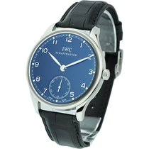 IWC IW545407 Portuguese Hand-Wound - Steel on Black Leather...
