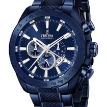 Festina Mens Blue PVD Coated Chrono Watch with PVD Coated...