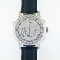A. Lange & Söhne Datograph pre-owned 41mm Silver Moon phase Chronograph Flyback Date Weekday Month Perpetual calendar GMT Leather