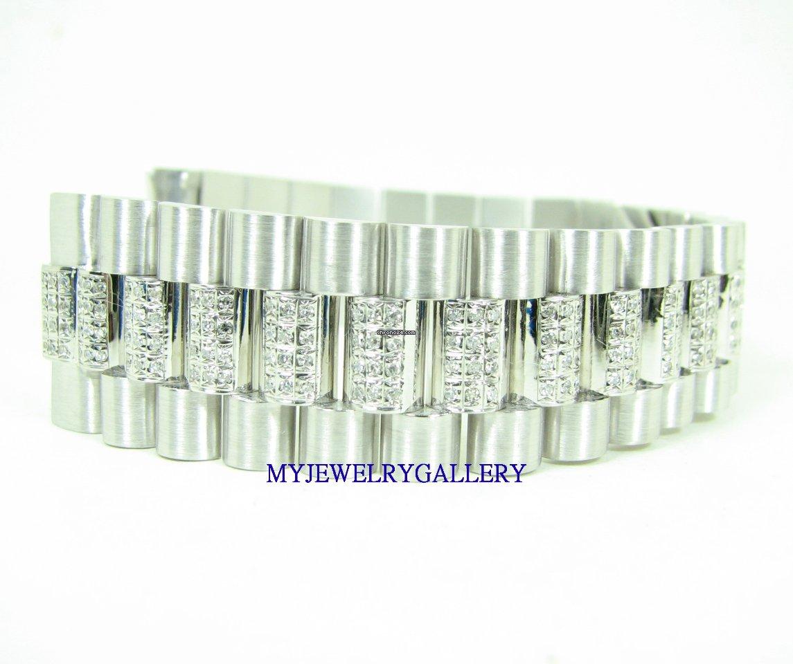 Rolex Aftermarket 18k Wg Diamond Bracelet Band For Mens