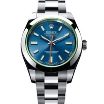 Rolex MILGAUSS BLU vetro Verde FULL con PLASTICHE  116400 GV