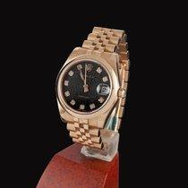 Rolex Oro rosa Automático Negro Sin cifras 31mm usados Datejust