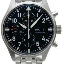IWC Pilot Black Dial Chronograph Steel Automatic Men's...