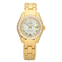 Rolex Lady-Datejust Pearlmaster Or jaune 29mm Nacre Romain