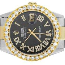 Rolex Datejust Staal 36mm Zwart Romeins