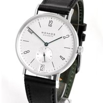 NOMOS Tangente 38 Datum pre-owned 37.5mm Silver Date Leather